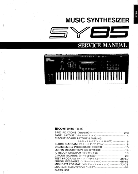 Remarkable Yamaha Sy85 Service Manual Complete Yamahamusicians Com Wiring Digital Resources Jebrpcompassionincorg